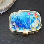 携帯用アクセサリーケース ミラー付 人魚姫モチーフ つけまつげケース ピルケース 仕切り付き ジュエリーボックス つけまケース アクセサリーボックス