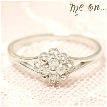 me on... 送料無料4粒のダイヤモンドが眩しいキュートな大人可愛い小花の指環◆K18ホワイトゴールド[WG]フラワーモチーフ・ダイヤモンドリング お届けまで2〜3週間程度