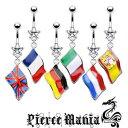 14g ヨーロッパ 揺れる国旗へそピアス バナナバーベル★ボディピアス サージカルステンレス イヤロブ ボディーピアス へそピ