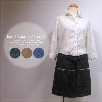 可愛的咖啡廳圍裙 / 點圍裙 / 圍裙花邊圍裙和短長度圍裙 / 加爾松圍裙 [] [ki-圍裙-1351] 05P12Oct15