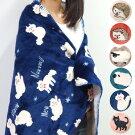 100×140cmブランケットハーフケットマイクロフリースアニマルかわいい裏ボアハリネズミヒツジネコ毛布