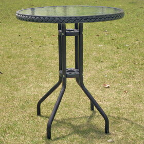 ラタン調ガーデンセット5点セットガーデンテーブルセット庭テラスベランダ店舗カフェアジアンスタッキングチェアランドテーブル丸テーブルガラステーブル