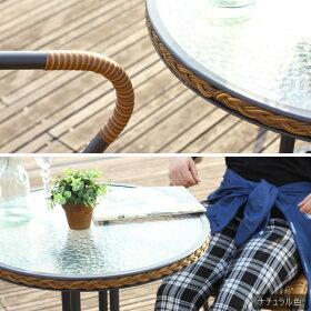 ガーデンテーブルセットガーデンテーブルセットラタン調ガーデンセット3点セットテーブルチェア庭テラスベランダ店舗カフェガラステーブル