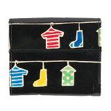【第3世界ショップ】山羊革 マルチポケット財布 ランドリー柄/黒