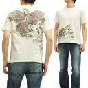 絡繰魂 Tシャツ 大鷹 総刺繍 和柄 メンズ 半袖tee 242591 オフ白 新品