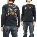 テーラー東洋長袖TシャツスカTシャツTT67486アラスカ刺繍メンズロンtee#119ブラック新品