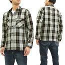 サムライジーンズSIN17-01ワークシャツチェックネルシャツメンズ長袖シャツグレー新品