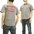 シュガーケーンSC37909ヒッコリーストライプ刺繍ワークシャツメンズ半袖シャツ#119ブラック新品