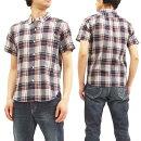 フェローズ18S-PBDS3マドラスチェックボタンダウンシャツメンズ半袖シャツネイビー新品