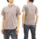 フェローズ18S-PBDS4ボタンダウンシャツミニチェックメンズ半袖シャツオフ/紺新品