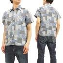 シュガーケーンSC37925ワークシャツパッチワーク風ジャガードチェックメンズ半袖シャツ#125ブルー新品