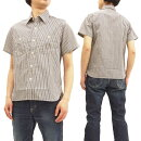 シュガーケーンSC37927インディゴヒッコリーワークシャツメンズ半袖シャツ#105オフ新品