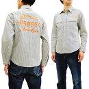 シュガーケーンSC27988ヒッコリーストライプ刺繍ワークシャツメンズ長袖シャツ