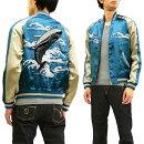 ジャパネスクスカジャン3RSJ-041波に鯨刺繍Japanesqueメンズスーベニアジャケット新品