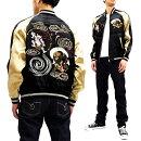 ジャパネスクスカジャン3RSJ-003風神雷神刺繍メンズ和柄スーベニアジャケット黒×ベージュ新品