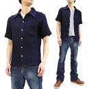 サムライジーンズSOS19-S01オープンカラーシャツハチスドビー生地無地メンズ半袖シャツ新品SamuraiJeansMen'sSlimFitPLainIndigoDobbyShortSleeveShirtSOS19-S01