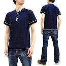 サムライジーンズsjit-101mインディゴヘンリーネックtシャツsamuraijeansメンズ無地半袖tee新品SamuraiJeansIndigoHenleyT-ShirtMen'sHeavyShortSleevePlainTeeSJIT-101M