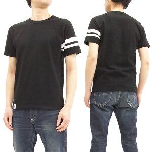 桃太郎ジーンズ Tシャツ MT302 GTB 左袖出陣ライン メンズ 半袖Tee スラブTシャツ ブラック 新品