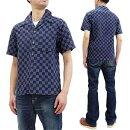 サムライジーンズ半袖シャツSOS20-S01メンズ刺し子チェックオープンカラーシャツインディゴ新品SamuraiJeansMen'sSashikoStitchedShortSleeveButtonUpShirtSOS20-S01MadeinJapan