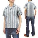サムライジーンズ刺し子半袖シャツSOS21-S01メンズ枷染め藍浅葱刺子ストライプオープンシャツ新品SamuraiJeansSashikoShirtMen'sStripedShortSleeveButtonUpShirtSOS21-S01MadeinJapan