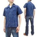 サムライジーンズ藍絣半袖シャツSOS21-S02メンズ藍染備後絣生地ストライプオープンシャツ新品SamuraiJeansShirtMen'sJapaneseKasuriStripedShortSleeveButtonUpShirtSOS21-S02IndigoMadeinJapan