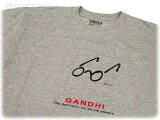 【レビュー付参考商品】インドのTシャツ 半袖 グレー Mサイズ マハトマ・ガンディー
