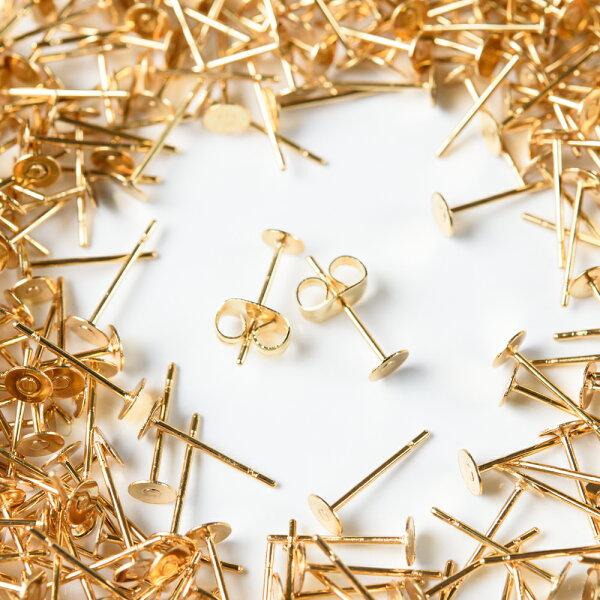 【サージカルステンレス316L】(皿のサイズ)4mmピアスゴールド平皿タイプ×ゴールドキャッチセット20個(10ペア)金属アレルギー対策アクセサリーパーツ