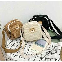 クマさんがかわいいコーデュロイカジュアルショルダーバッグ(小さいサイズ・全3色)