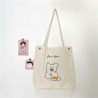 コーデュロイ素材が可愛い!クマさんデザインのおしゃれトートバッグ(全3色)