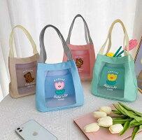 【milkjoy】パステルカラーが可愛いメッシュミニトートバッグ(全4色)