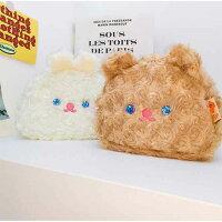 【milkjoy】目がキラキラ♡クマさん・うさぎさんの大きめモフモフポーチ!ペンケース・メイクポーチに!(全2色)
