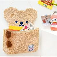 【milkjoy】クマさんのもこもこ壁かけポケット♡(全3色)