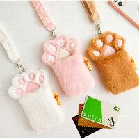 【milkjoy】ネックストラップ!もふもふな猫の手型カードケース(全3色)