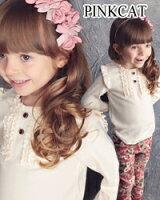 女の子らしいフリルTシャツ長袖