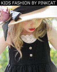 シンプルながらナチュラルに広がるラインが素敵な女の子夏ワンピース