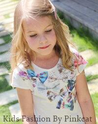 無地×リボンプリントがとっても子供可愛い白tシャツ