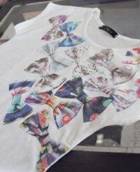 子供服夏半袖リボンプリントtシャツ