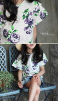 とても可愛い!上品薔薇のお花が女の子らしいキッズ半袖tシャツ