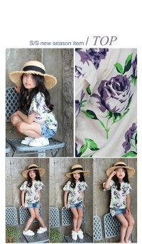 子供服夏半袖大人可愛いお花プリントtシャツ女の子