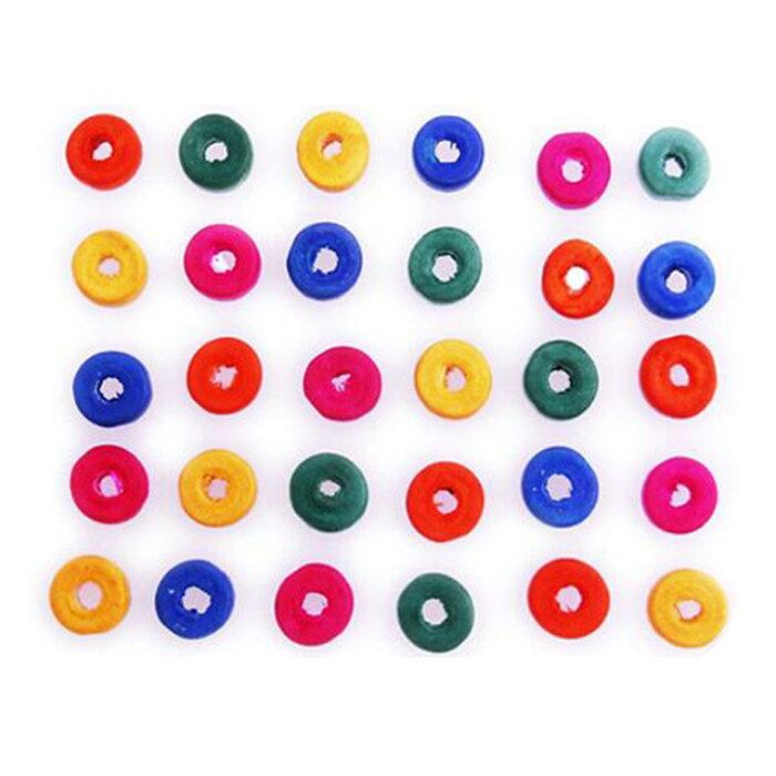 在庫限り!ウッドビーズ【201309-8】ドーナツ型カラフル アソートランダム1セット30個入り 【ゆうパケット対応】