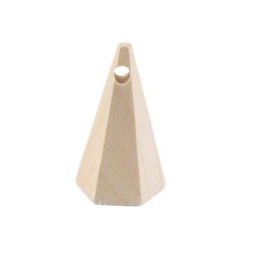 約36×22mm 1個入 ナチュラルウッドビーズ 六角錐 穴3.5mm ナチュラル / 木製 オーナメント 円錐 木目 天然 インテリア スペーサー 工作材料 ネックレス ペンダント ハンドメイド資材【ゆうパケット対応】