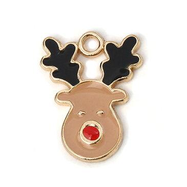 メタルチャーム 茶色いトナカイさん 約17×13×1.8mm(1個入)/クリスマス xmas となかい deer オーナメント ペンダントトップ【ゆうパケット対応】