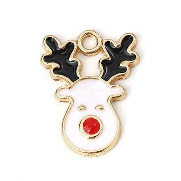 メタルチャーム 白いトナカイさん 約17×13×1.8mm(1個入)/クリスマス xmas となかい deer オーナメント ペンダントトップ【ゆうパケット対応】