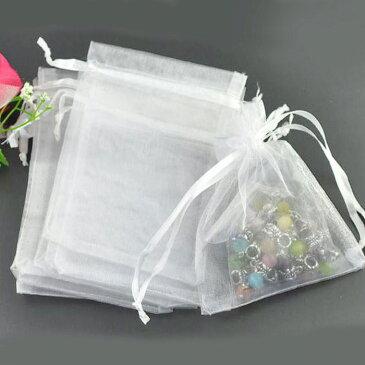 オーガンジー巾着袋 ホワイト 8×7cm(5枚入)/ ラッピング用品 半透明 プレゼント 店舗備品 保管用 白色【ゆうパケット対応】