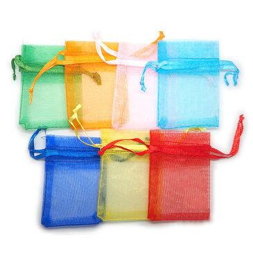 オーガンジー 巾着袋 無地 選べるポップカラー7色(アイビーグリーン オレンジ ライトピンク ターコイズブルー ブルー イエロー レッド)約70×50mm(内約55×50mm)(5枚入)/小袋 ポーチ 半透明 シースルー ラッピング プレゼント包装【ゆうパケット対応】