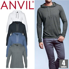 ANVIL アンビル メンズ ライトウエイト フード付き長袖Tシャツ 987 パーカー プルオーバー 無地 カジュアル