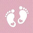 Maki Pol-Mak ペーパーナプキン デコパージュ☆かわいいちいさな足跡 赤ちゃん ドット ピンク☆(Little Feet - pink)(1枚/バラ売り)