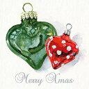 オランダ Ambiente 素敵な4つ折りペーパーナプキン デコパージュ☆クリスマスオーナメント ハート グリーン レッド☆(Christmas Hearts)(1枚/バラ売り)