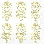 marimekkoマリメッコ可愛いペーパーナプキンデコパージュ☆VIHKIRUUSUgold☆ヴィヒキルースゴールド花柄(1枚/バラ売り)