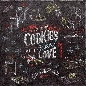 ドイツ HOME FASHION 素敵な ペーパーナプキン デコパージュ☆黒板アート 手書き風 手作りクッキー☆(Homemade Cookies)(1枚/バラ売り)